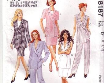 McCalls 8187, Misses Lined Jacket, Pants, Skirt, Size 12, 14, 16, Uncut, Factory Folded