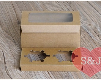 10x 2 holder cupcake/muffin/cake Brown Kraft Cardboard Boxes