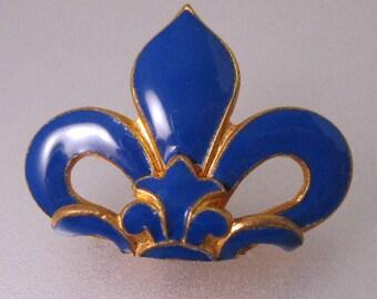 Antique Blue Enameled & Gilded Fleur de Lis Half Belt Buckle or Pendant Antique Jewelry