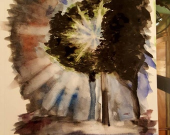 Night light in the dark single tree present. Original watercolor