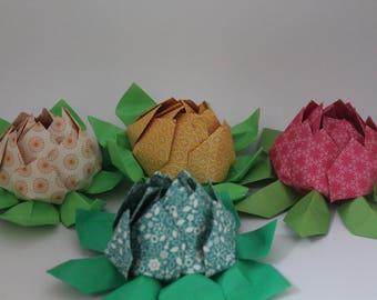 Handmade Paper Origami Lotus Flower - Birthday Gift - Wedding Ring Holder -  Valentine's Day - Anniversary - Mother's Day - Housewarming