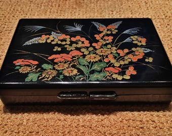 Vintage Black Floral Designed Red Velvet Interior 6 Compartment Mirrored Pill Box Made in Hong Kong