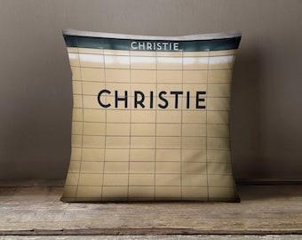 Christie Station Toronto Subway Pillow - Made in Canada Home Decor, Subway Art, Retro Home Decor - 16x16 or 20x20 Decorative Throw Pillow