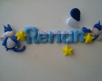 Name Baby Child Letters Custom Embellishment Maternity Door Bedroom Baby Cot Handmade Felt Decoration