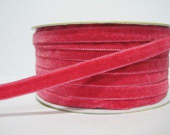"""5 yards 3/8"""" Shocking Pink Velvet Ribbon, Pink Velvet Ribbon, Ribbon lot, Wholesale Ribbon, Pink Velvet trim, Hot Pink velvet ribbon, pink"""