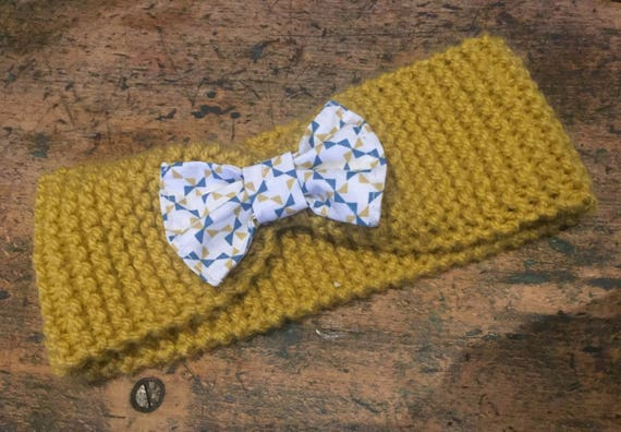 Knitted headband/Turban with bow
