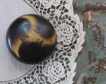 Large Vintage Brown Swirl Button, Self Shank, Metal Back, 1 1/2 inch