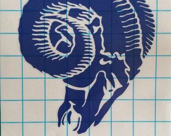 Los Angeles Rams Throwback Logo Vinyl Decal (1970-1982 Logo)