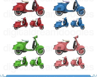 Vespa Clipart, Scooter Clipart, Moped Clipart, Vespa Image, Motorized Scooter Graphic, Moped Bike Scrapbook, Scooter Digital Download