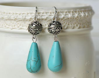 Silver and Turquoise Dangle Earrings- Turquoise Earrings- Dangle Earrings- Beaded Earrings- Boho Earrings- Affordable Earrings- Gift for Her