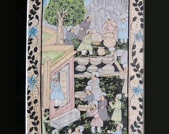 Indian Persian Mughal Antique Guache Painting on Silk  16.9 x 11.6