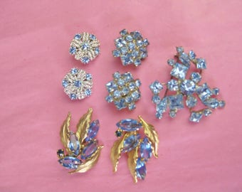 Sparkly Blue Vintage Jewelry Collection Blue Rhinestone Brooch and Clip on Earrings