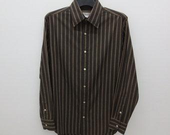 Katharine Hamnett Shirt Men Size M/L Katharine Hamnett Striped Shirt Katharine Hamnett Button Up Shirt Made in Japan