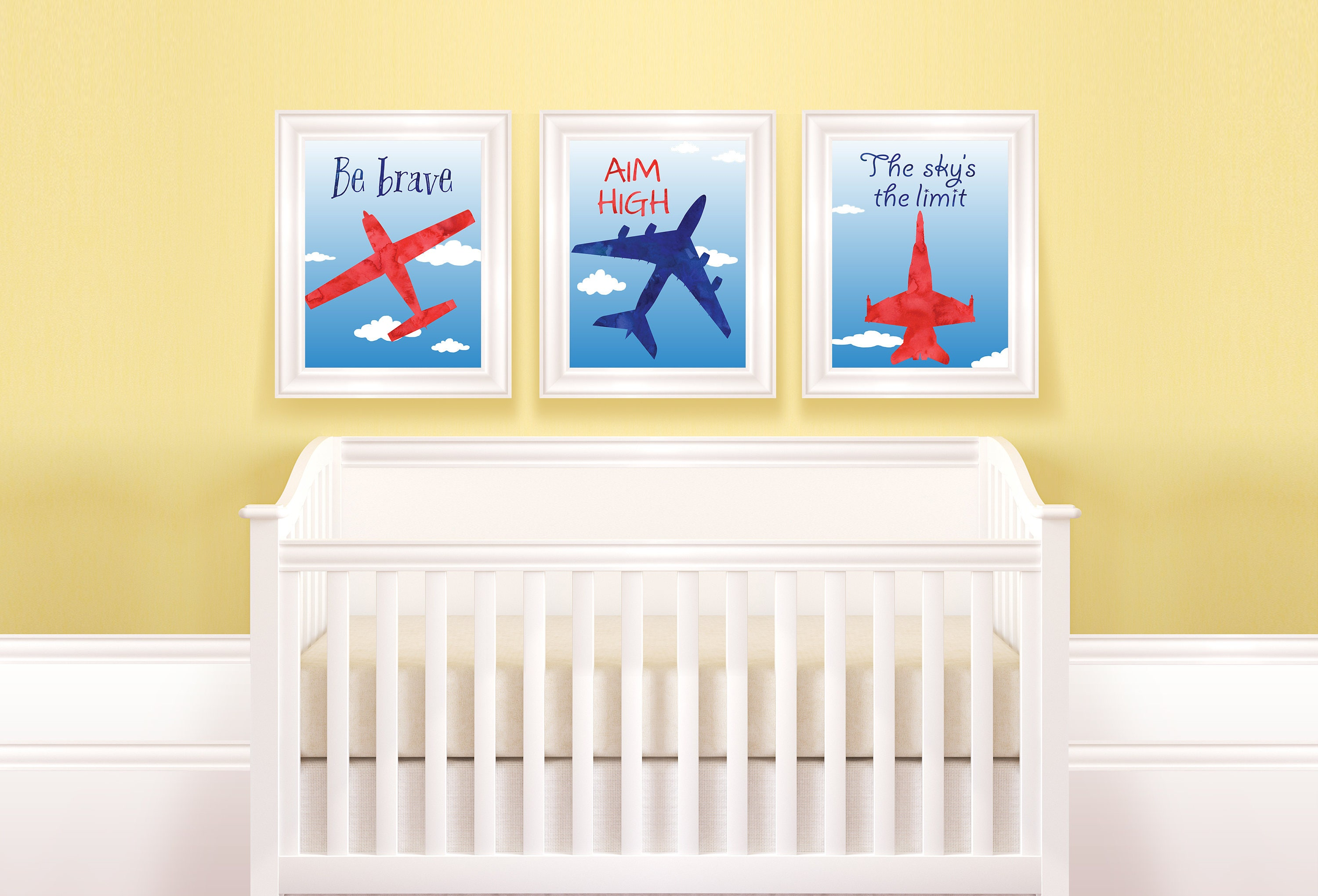 Airplane prints. Be brave Blue and red. Instant download
