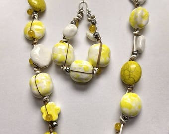 Yellow and white string necklace and matching earrings
