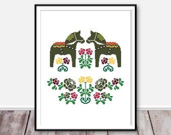 Scandinavian horses cross stitch pattern Modern cross stitch Dala counted cross stitch chart Embroidery Swedish horses Cross stitch Dala