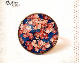 Fancy • blue • pink red glass cherry blossom Sakura Cabochon ring