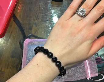 Black Tourmaline Beaded Stone Bracelet
