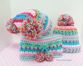 CROCHET HAT PATTERN - The Inca hats Crochet Pattern - Fun Crochet pattern for Babies Toddlers Children Teens Adults - With Photo Tutorial !