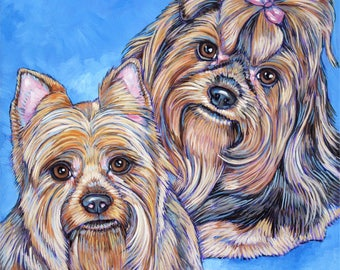 """12"""" x 12"""" Custom Pet Portrait Painting in Acrylics on Mounted Canvas of Two Dogs, Cats, other Pets Hand Painted from Photo Reference"""