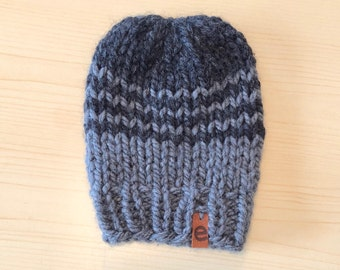 charcoal and grey striped knit hat
