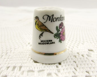 Vintage State Thimble, Montana with State Bird and Flower, Western Meadowlark and Bitterroot and Gold Trim