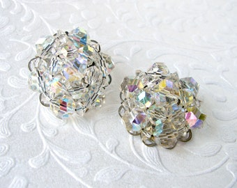 1 Inch Round Cluster Crystal Beaded Clip Back Earrings Costume Jewelry Classic 1950's Bead Silver Tone Formal Evening Prom Pageant MoB MoH