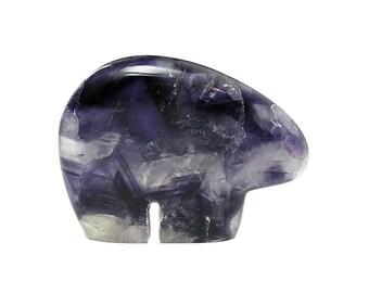 Purple Fluorite Semiprecious Gem Stone Carved Bear Fetish, Gemstone Carving, Polished Rock Sculpture, Southwest Tribal Motif