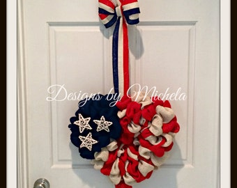 Patriotic Heart Flag Wreath - Fourth of July - Memorial Day - Independence Day