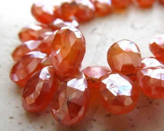 Orange Carnelian Faceted Teardrop Briolettes - Iridescent Metalic Mystic Pumpkin Nectarine Orange 10 X 7mm - 4 inch Strand
