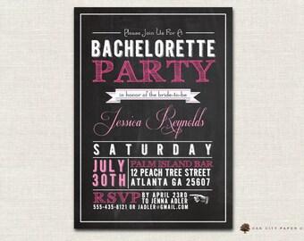 Bachelorette Invitation   Chalkboard Themed Bachelorette Party Invitation  Template   Printable