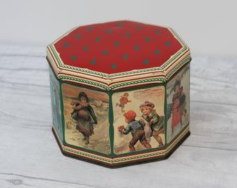 Octagonal Christmas Tin, Vintage Scenes, Children Playing.