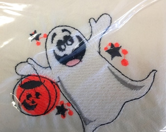 Trick or Treat ghost embroidered flour sack dish towel