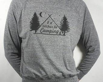 Ich würde eher sein Camping - Triblend Longsleeve Raglan Pullover - Made in USA