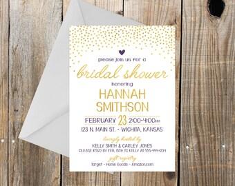 Gold and Plum Bridal Shower Invitation, Gold dots and purple, heart, gold and purple bridal shower invitation, 5x7
