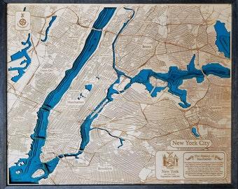 Manhattan New York 3D Wood Map