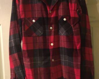 Men's wool red plaid shirt - vintage mid-40s