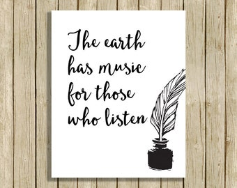 printable literary quote wall art The earth has music Shakespeare instant download 8 x 10 inspirational art print black and white home decor