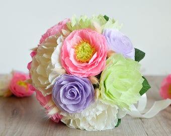 Wedding Bouquet/ Bridal Bouquet/ Bridesmaid Bouquet/ Paper Flower Bouquet/ Alternative Bouquet/ Paper Flowers/ Pink Ivory Lavender Bouquet