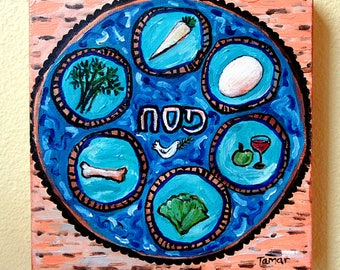 Passover Art, Seder Plate with Peace Dove on Matzos, Original Painting, Canvas, Jewish Gift, Judaica Artwork, Acrylic Painting, Pesach Table