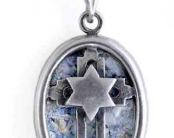 Unusual 925 Sterling Silver Pendant, Roman Glass Pendant, Cross Star Pendant, Unique Jewelry, Roman Glass Jewelry
