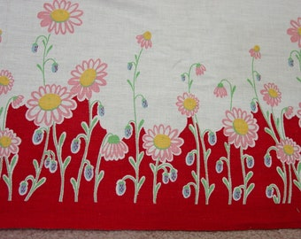 """Stunning Vintage Cotton Fabric Double Borders 36"""" Wide, By the Yard 4 Yards Available"""