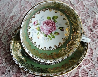 VINTAGE Royal Stafford English Bone China Sumptuous Wide Teacup and Saucer Lush PINK Roses Pattern Lavish Gold Trim Pedestal Cup and Saucer