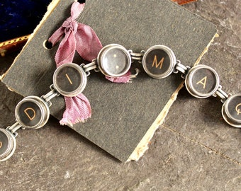 Typewriter Key Bracelet vintage steampunk jewelry original teacher writer secretary gift retro repurposed up cycled