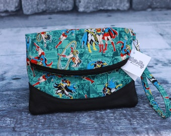 Superhero inspired foldover wristlet. Pattern by Swoon Patterns