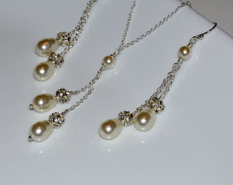 Pearl Necklace Set, Wedding Jewelry, Bridesmaid Jewelry, Bridesmaid Earrings, Drop Pearl Necklace, Drop Pearl Earrings