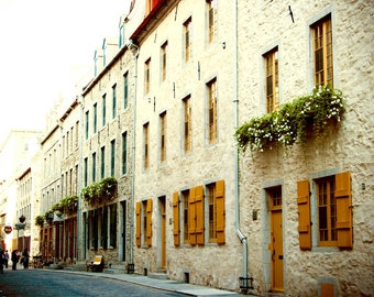 Photograph Mustard Yellow Shutter Door Window Lined Old Quebec City Street Canada Horizontal Travel Fine Art Print Home Decor