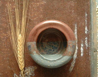 Stoneware Pet Bowl | Robins Egg Blue | Light Purple Mauve | Jewelry Holder | Succulent Herb Planter | Farm House Decor | Art Studio Design