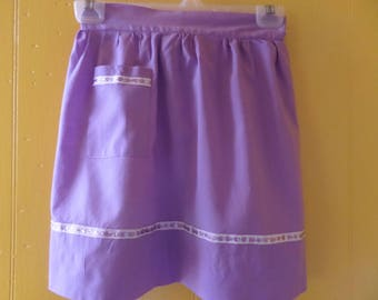 Deep Lavender Cotton Half Apron That's Almost too Pretty for the Kitchen!
