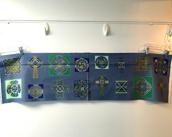 Fabric Freedom CELTIC COLLECTION crosses knots Irish Ireland more 16 designs green blue metallic gold PANEL